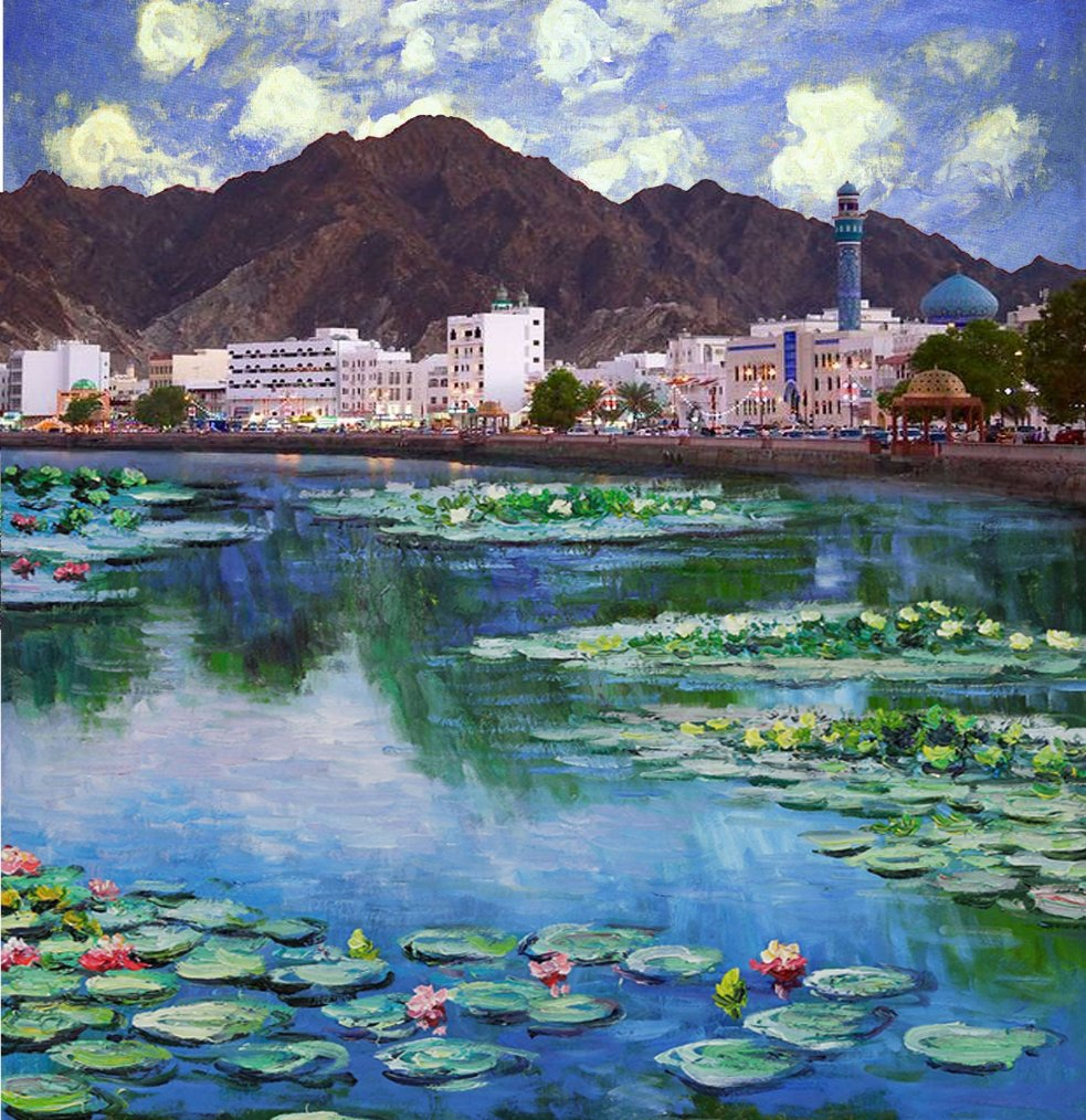 Kostis Grivakis - Monet's Water Lilies in Muttrah, Oman collage