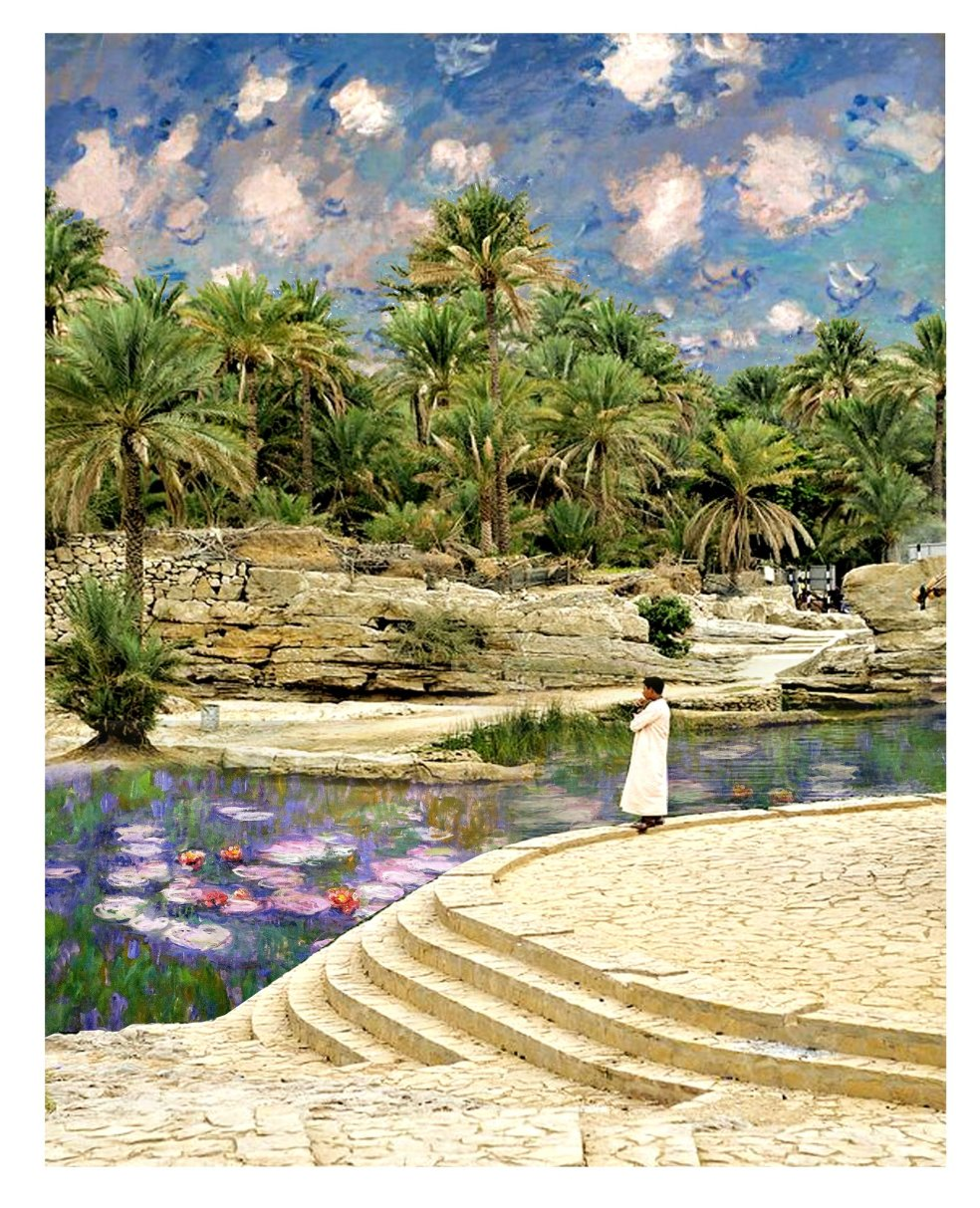 Kostis Grivakis - Monet's Water Lilies in Wadi Bani Khalid, Oman collage