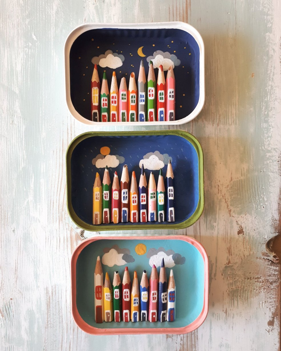 Kostis Grivakis - Pencils in Sardine Cans Recycled
