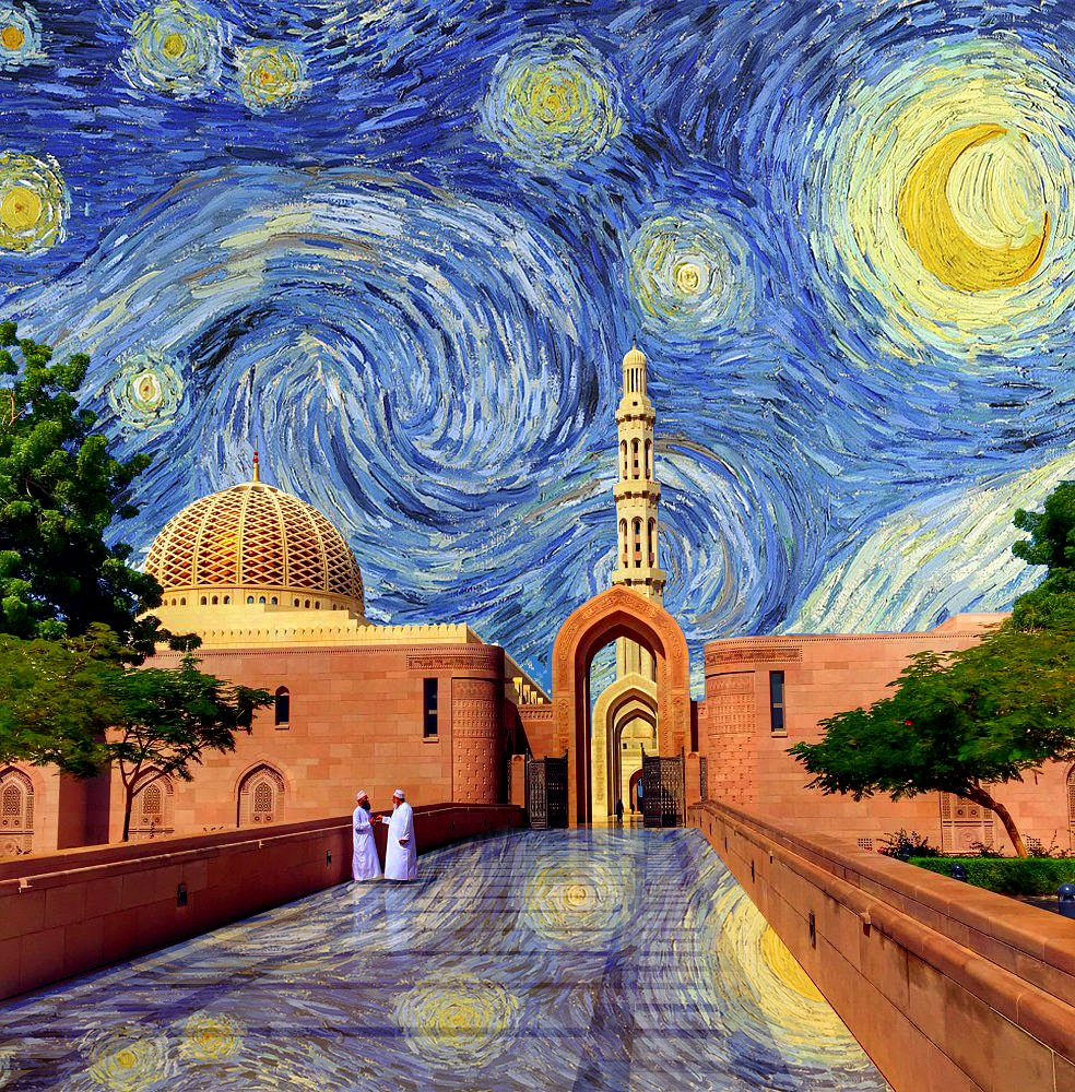Kostis Grivakis - van Gogh's Starry Night in Grand Mosque, Oman collage