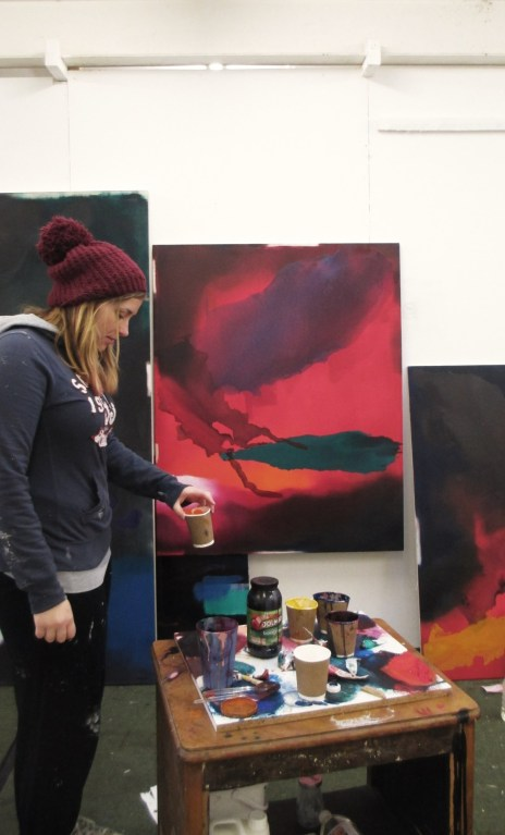 Kathryn Stevens Bristol-based Fine Artist in the studio